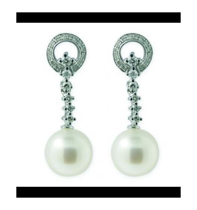 Pendientes de oro blanco (18K) con diamante y perla cultivada