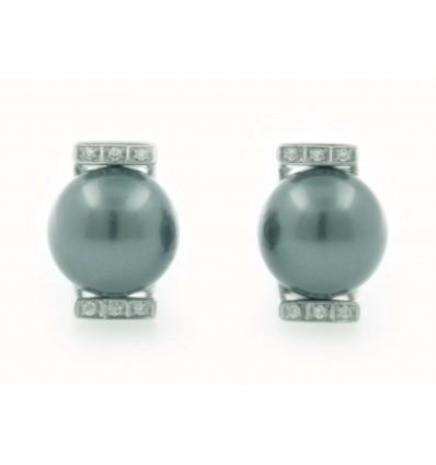 Pendientes de oro blanco (18K) con diamante y perla negra