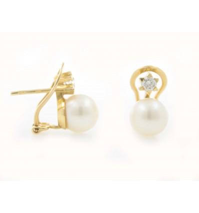 Pendientes de oro amarillo (18K) con diamante y perla cultivada