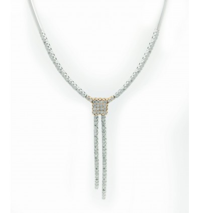 Gargantilla de oro blanco y oro rosa (18K) con diamante