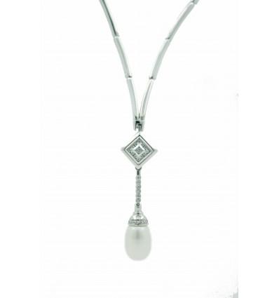 Gargantilla de oro blanco (18K) con diamante y perla