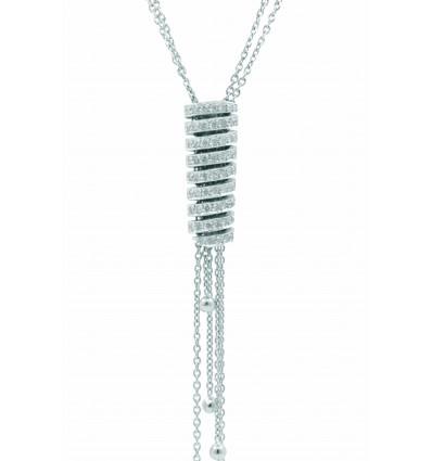 Gargantilla de oro blanco (18K) con diamante