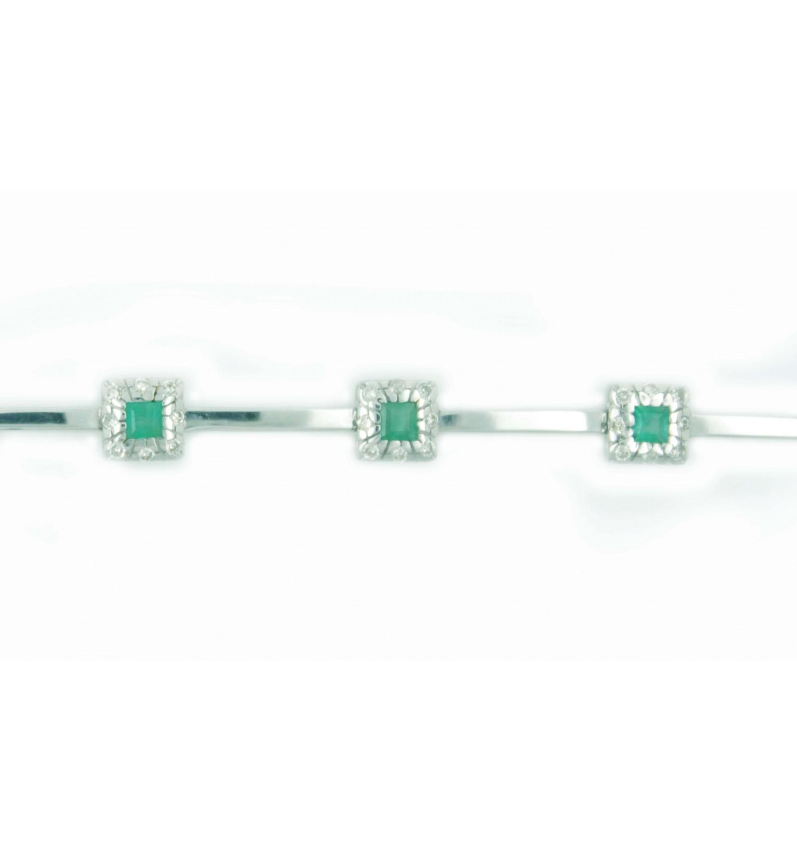 b00ba911b336 Pulsera de oro blanco (18K) con diamante y esmeralda - Lopez Joyeros