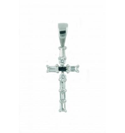 Cruz de oro blanco (18K) con diamante