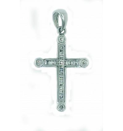 Cruz de oro blanco con diamantes