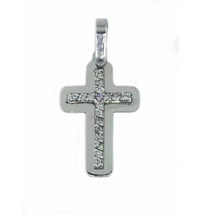 Cruz de oro blanco de 18K con diamantes