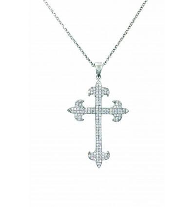 Cruz de plata con zirconitas y cadena