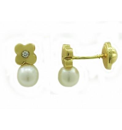 Pendientes de oro amarillo (18K) con perla y diamante