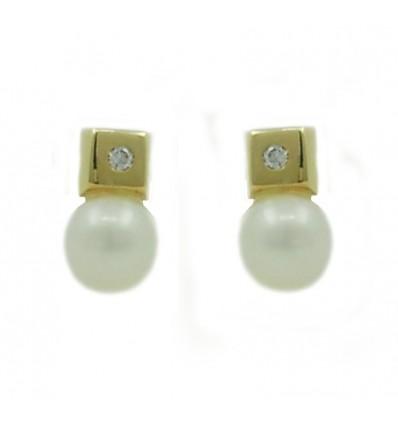 Pendientes de oro blanco (18K) con perla y diamante