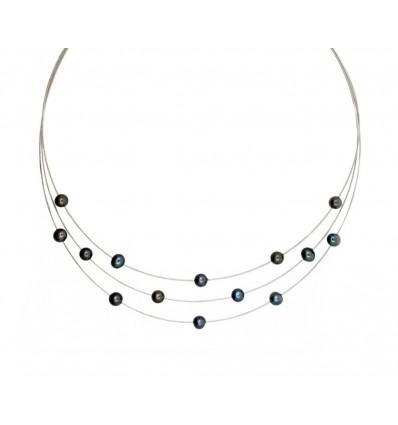 Triple sirga de oro blanco (18K) con perlas