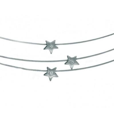 Triple sirga de oro blanco (18K) con diamante