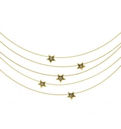Conjunto de sirgas de oro amarillo (18K) con diamante