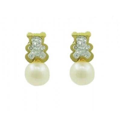 Pendientes de oro amarillo (18K) con perla y zirconita