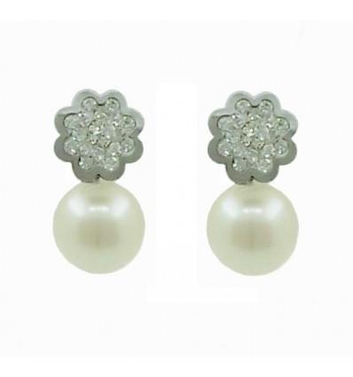 Pendientes de oro blanco (18K) con perla y zirconita