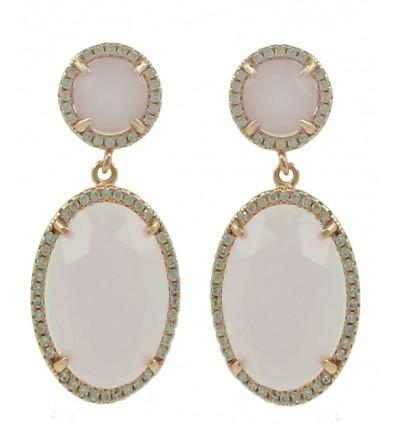 Pendientes de plata rosa con piedra natural
