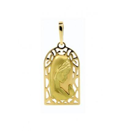Medalla de la Virgen Niña de oro amarillo (18K)