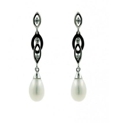 Pendientes de oro blanco (18K) con zirconita y perla