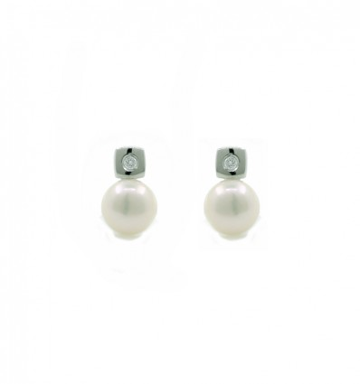 Pendientes de plata con perla natural