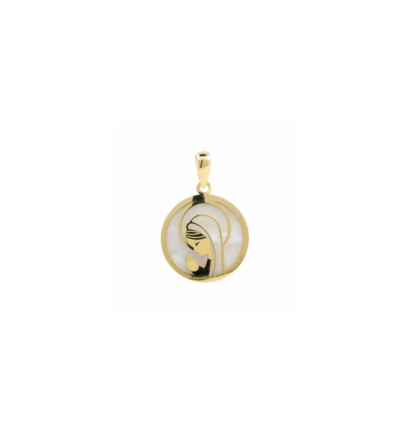 42a23b6f945 medalla para comunión de oro amarillo y nácar