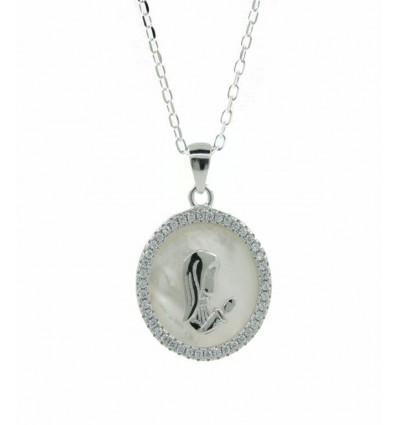 Medalla de plata y nácar