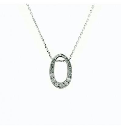 Colgante de oroblanco (18K) con diamante