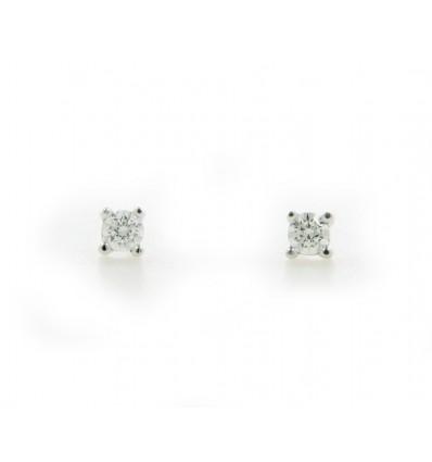 Pendientes de oroblanco (18K) con diamante