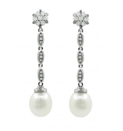 Pendientes de oro blanco ( 18K) con diamante y perla cultivada
