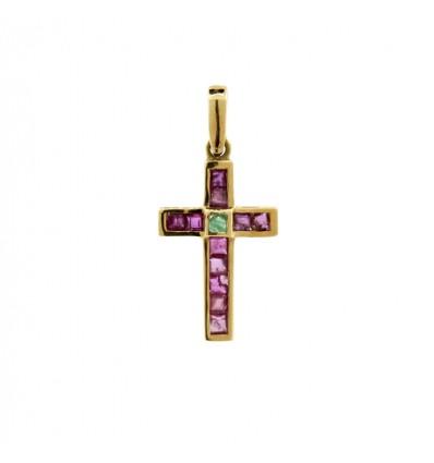 Cruz de oro de 18K con piedras