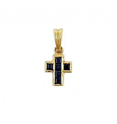 Cruz de oro con zafiros azules